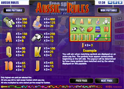Aussie Rules Paytable Screenshot